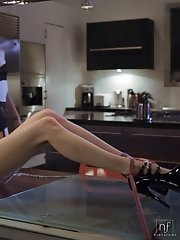 Elle Alexandra ties down Aiden Ashley and then dominates her with a riding crop and a long pussy licking